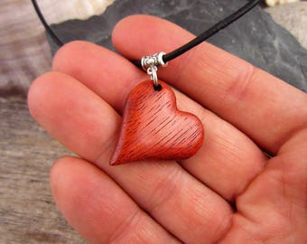 Wood Heart Necklace, Natural Red Heart Shaped Pendant With Simple Leather Necklace, Hand Carved Wood Heart Charm