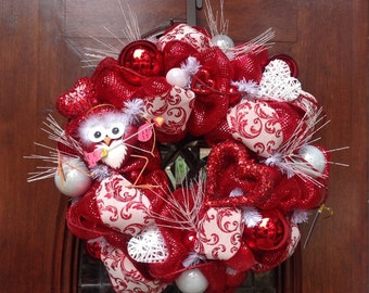 Cupid Owl Valentines Wreath