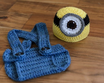 Ready to Ship! Newborn Baby Minion Crochet Hat and Overalls Diaper Cover, Photo Prop, Crochet Hat, Minion Hat, Minion Overalls
