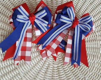 Equestrian Girl Horse Show Hair Bows Red /white /blue  Red/white gingham check on grosgrain ribbon 4th of July/fourth of July/Memorial day
