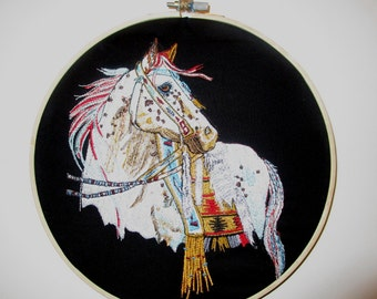 Large Fantasy Horse Embroidered Hoop Art 9""