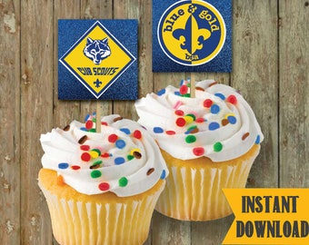 CubScout CupCake TOPPERS / Blue & Gold / Pack Meeting / #CubScout #BlueandGold #InstantDownload #DIYPrintableCupcakeToppers