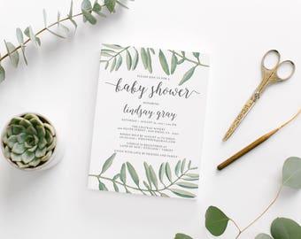 Watercolor Olive Branch Baby Shower Invitation • Custom Printable Baby Shower Invite • Unique Botanical Baby Shower Invitation • DIY File