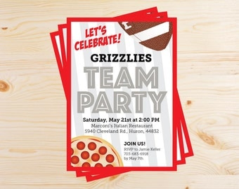 Editable Football Team Pizza Party Invitations - INSTANT DOWNLOAD PRINTABLE - Red, Scarlet, Silver, Gray