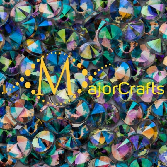 Crystal AB Flat Back Pointed Rivoli Acrylic Rhinestones Embellishment Gems - C1
