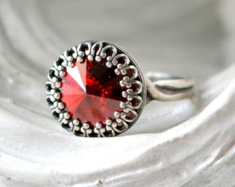 Silver Crown Ring | Red Magma | Swarovski Crystal Ring | Antique Silver | Victorian Crown | Magma Red Crystal | Red Magma Ring | Red Wedding