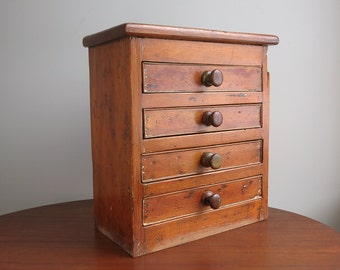 Primitive Pine Chest With Drawers   Rustic Tabletop Chest   Small Pine Jewelry  Storage, Kitchen
