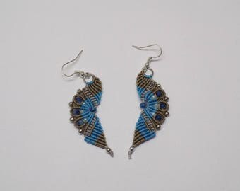 Wavy Micro Macrame  Earrings Beaded Antique Brown, Gray, and Turquoise