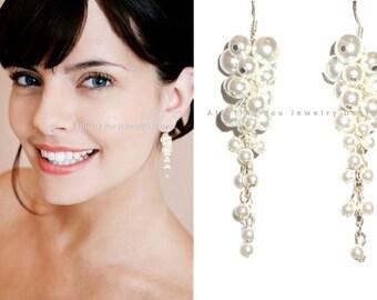 Cascading Earrings, Pearl Waterfall Earrings, Long Pearl Earrings, Pearl Glass Earrings, Pearl Wedding Earrings, Statement Bridal Earrings