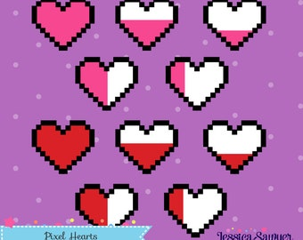 INSTANT DOWNLOAD - Pixel Heart Gaming Clipart and Vectors