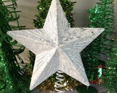 """Glittery White & Silver Star Tree Topper / 8"""" Wide Metal Star / Christmas Tree Holiday Decor"""