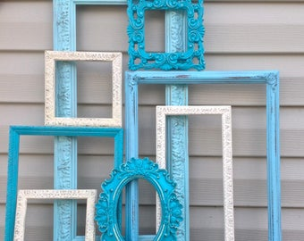 Turquoise Blue & White Open Frames - Blue Wall Gallery - Empty Frame Wall Decor - Set of 8 Ornate Frames