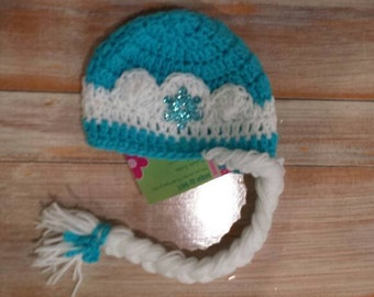 Princess Elsa Hat, Made to Order, Ice Queen Hat, Ice Princess Hat, Blue Elsa Hat, Elsa Braid, Elsa Hair