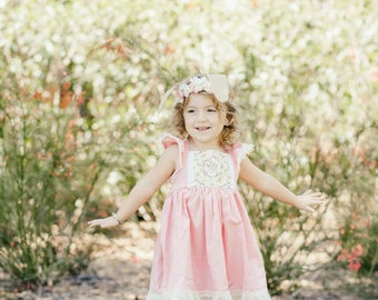 Easter dress SET - baby pink easter dress - baby easter dress - lace easter dress - easter bunny dress - pink and lace dress - vintage dress
