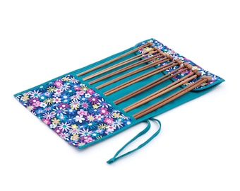 Knitting needle roll filled with bamboo knitting needles, flower knitting needle holder, gift for knitter, knitting needle case, UK shop