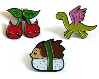 Enamel Pins Set of 3 - Cute Pins - Soft Enamel Pins - Pin Badges - Buttons - Cherry Cats, Pegasaurus & Hedgehog Nigiri Sushi - Pins Gift Set