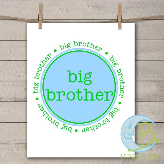 INSTANT DOWNLOAD Big Brother Blue Green Printable DIY Iron On to Tee T-Shirt Transfer - Digital File
