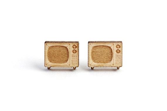 TV set studs - vintage televisor earrings - television jewelry - retro jewellery - lasercut maple wood - hypoallergenic surgical steel