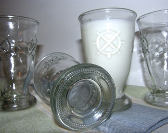 Vintage Shipwheel Glass Set of Four, Nautical Glassware