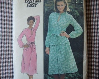 vintage 1970s/ 1980s Butterick sewing pattern 5298 UNCUT misses dress top and skirt size 18 1/2