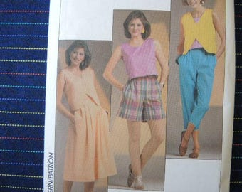 vintage 1980s simplicity sewing pattern 6854 misses easy to sew top skirt cropped pants and shorts size 10-12-14