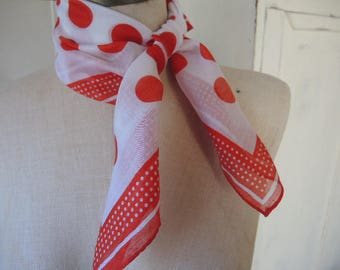 Vintage scarf slightly sheer nylon and rayon red and white polka dot 21 x 22 inches