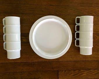 White Melmac, Melamine, Rosti Mepal Dishes and Mugs, Made in Holland, Denmark, Mid Century, Danish Modern, Camping, Plastic, Set of Eight