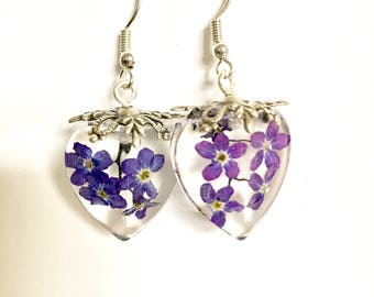 Preserved Purple/Violet Forget Me Not Resin Vintage Style Earrings