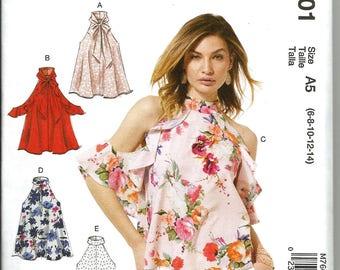 McCalls 7601 new uncut size 6 - 14 womans flared bare shoulder blouse