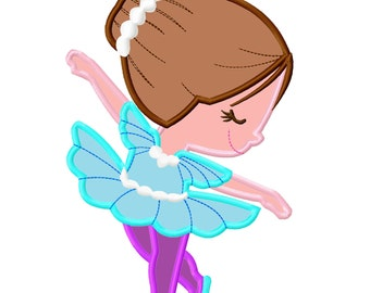 Ballerina Brown Hair Applique Embroidery Design    INSTANT DOWNLOAD