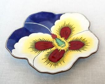 Vintage Asian enameled dish…flower shaped enameled plate...porcelain enameled plate...signed.