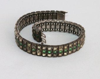 Vintage Diamonbar Bracelet Sterling Silver for Scrap or Repair 36 Grams - Art Deco Era Paste Rhinestones Jewelry