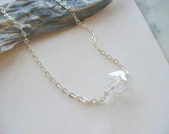 Crystal Necklace, Dainty Necklace, Silver Necklace, Tiny Necklace, April Birthday, Layering Necklace, Simple Necklace, Bridesmaid Gift