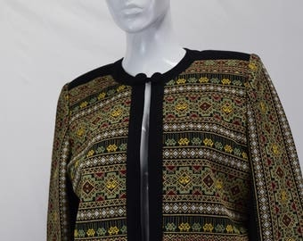 1980's African Patterned Embroidered Jacket