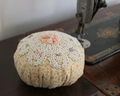 Old-Fashioned Hand Embroidered Calico Pincushion -Ready to Ship