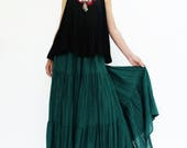 NO.5 Teal Green Cotton Gauze, Hippie Gypsy Boho Tiered Long Peasant Skirt