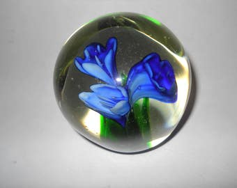 Period Glass Lampwork Paperweight with Three Gorgeous Blue Flowers Inside