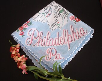 Ladies Hankie, Ladies Vintage Accessory, Souvenir hankie, Philadelphia, PA, Philadelphia souvenir, 1950s ladies handkerchief, 1950s