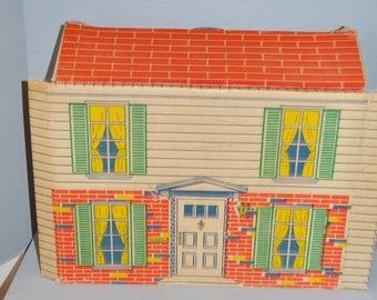 Marx Cardboard Fold-Up Suitcase Dollhouse 1968 ~ Vintage Dollhouse ~ Tin Litho Dollhouse ~ Epsteam