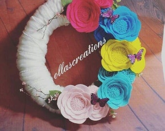 summer yarn wreath/summer felt wreath/flower wreath