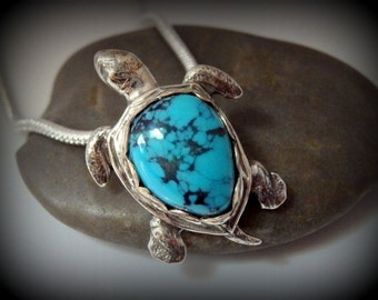 Recycled Silver, Sea Turtle, Pendant, Necklace, Genuine Turquoise,Tribal, Hawaiian, Good Luck, Gift
