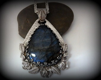 Recycled Silver, Labradorite, Large Pendant, Statement Piece, Woodland Collection, Gift, OOAK