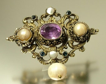 Antique/ estate Victorian 1800s, Austro Hungarian silver gilt, amethyst, sapphire and pearl brooch pin - jewelry / jewellery