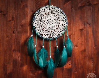 Dream Catcher - Spring Forest - Unique Dream Catcher with White Crochet and Blue Feathers - Crochet Dream Catcher, Bohemian Home Decoration