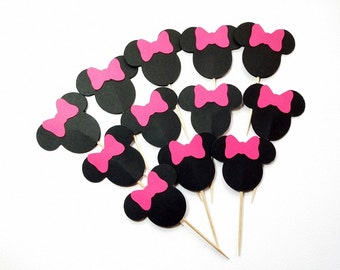 24 Minnie Mouse Cupcake Toppers - Minnie Mouse Cupcake Picks - Minnie Mouse  Pink Bow Cupcake Toppers - Cupcake Toppers