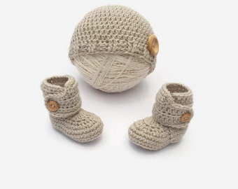 baby booties hat set | baby gift set | crochet baby hat and shoes | gender neutral baby | crochet baby booties | baby shower gift