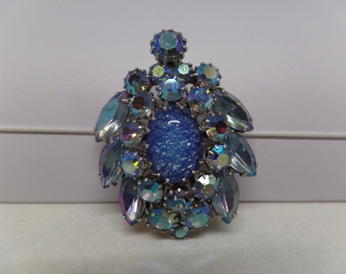 JULIANA Vintage Blue Aurora Borealis Crystal Brooch