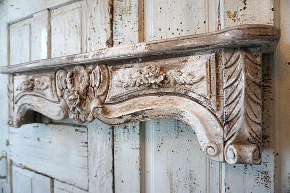 Large Ornate Wooden Shelf Wall Hanging French Farmhouse Style