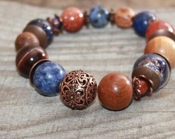 Mixed bead bracelet , Beaded gemstone bracelet , Boho chic , Bohemian bracelet  Nature bracelet  Rustic bracelet  Everyday Starry sky