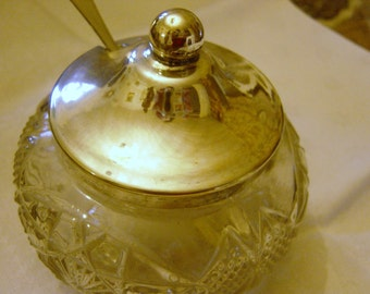 Vintage Pressed Glass & Silver Plate Jam Server Dish with Spoon